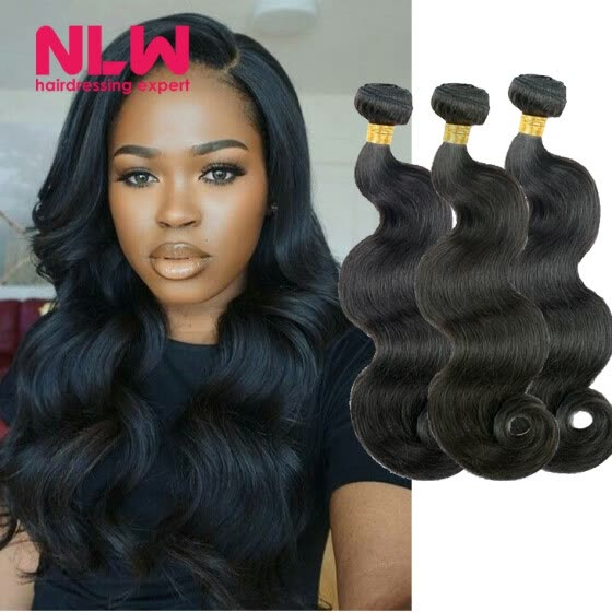 Bouncy Top Quality N.L.W. Products Brazilian Virgin Hair body wave 3 Bundles 8A Unprocessed Free Shipping Full and Thick