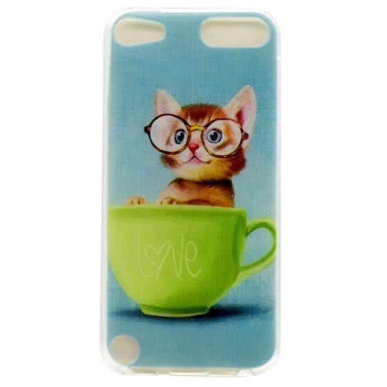 Glasses cat Pattern Soft Thin TPU Rubber Silicone Gel Case Cover for iPod Touch 5