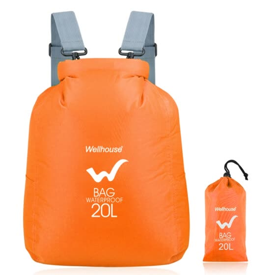 WELLHOUSE waterproof folding backpack travel men and women skin bag outdoor mountaineering camping beach portable storage 20L orange