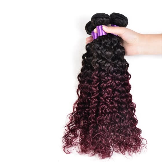 7A Grade Ombre Hair 3Pcs Lot Two Tone Color Peruvian Curly Hair Ombre Peruvian Kinky Curly Virgin Hair Weaves T1B/99J Red Wine
