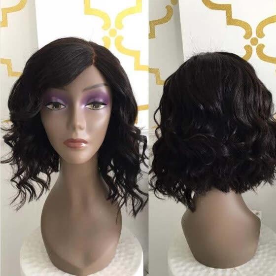 Short glueless full lace human hair wavy wigs brazilian hair wavy lace  front bob wig for f9e56a00d1