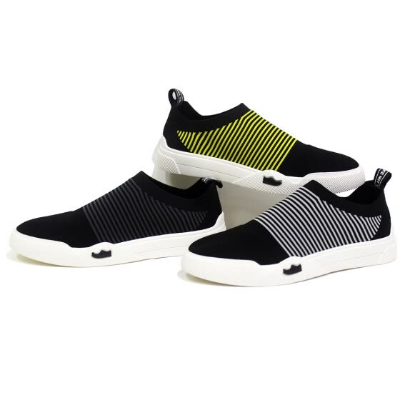 jiabaisi men casual shoes hot sale tenis oxfords elastic force loafers shoe men comfort stretch led Woven fabric slip on shoes