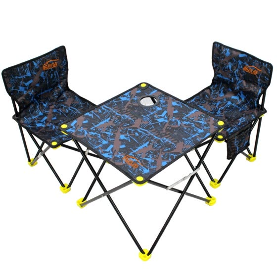 Easy Tour camping outdoor folding table and chair three-piece self-driving equipment portable barbecue fishing picnic chair blue camouflage