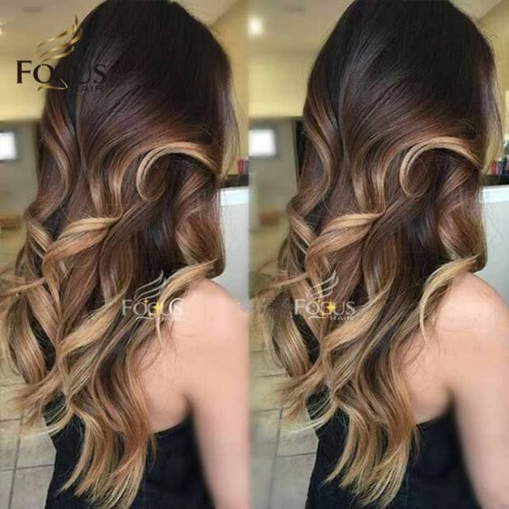 Lady Focus Full Lace Wig 150 Density Ombre Wig 1B 4 27 Honey Blonde Natural Wave Brazilian Human Hair Wigs With Baby Hair H24