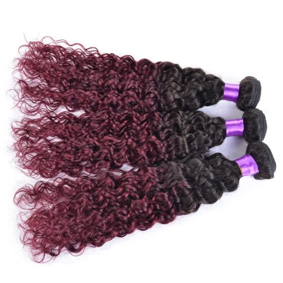 brazilian virgin hair Afro Kinky Curly ombre 1B99J burgundy wet and wavy human hair weave bundles deal