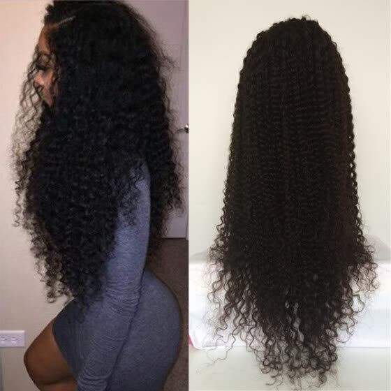 New Style Kinky Curly Glueless Full Lace Wigs Virgin Brazilian Curly Human Hair Wig 180% Density Lace Front Wigs For Black Women