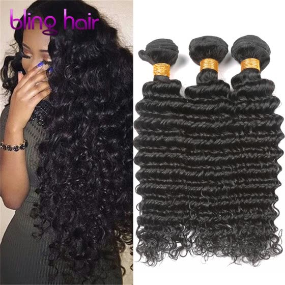 Bling Hair Peruvian Virgin Hair Deep Wave 3 Bundles 7A Grade 100% Unprocessed Human Hair Weave