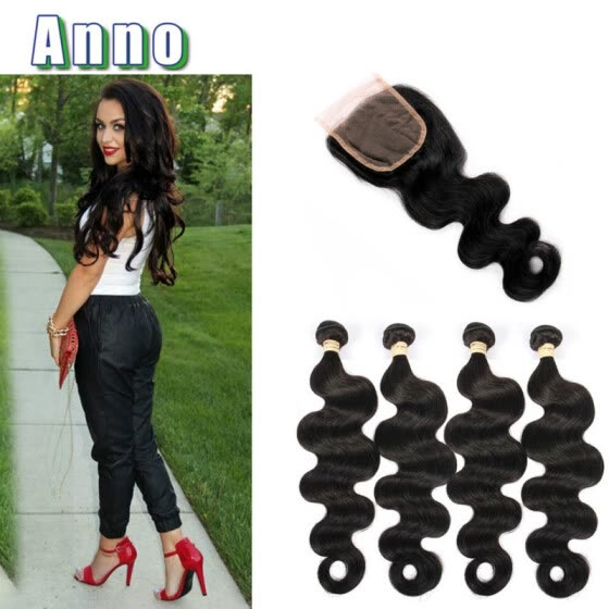Queen Love Brazilian Body Wave With Closure 4 Pcs 7a Brazilian Virgin Hair With Closure Body Wave Human Hair Weave With Closure