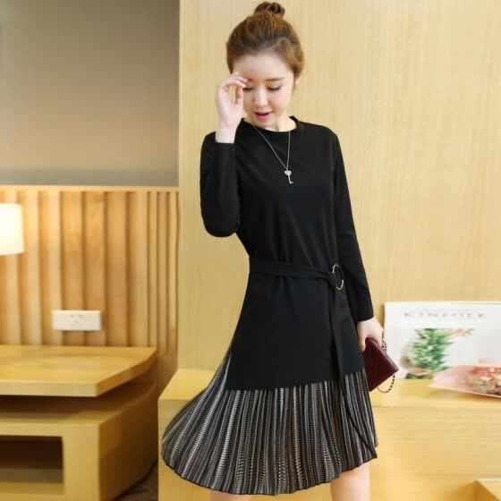 VIVAHEART Korean version of the long paragraph loose long-sleeved knitted fake two-piece dress women's VWQZ172239 black M