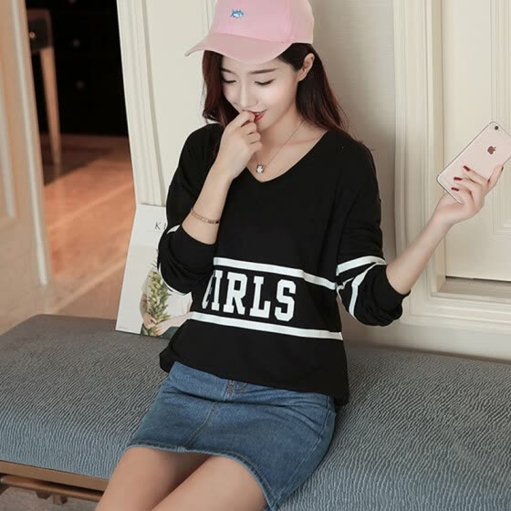 VIVAHEART Korean version of the bottomed shirt printed letters in the long paragraph loose bat sleeves V-neck T-shirt female VWTC172233 black uniform