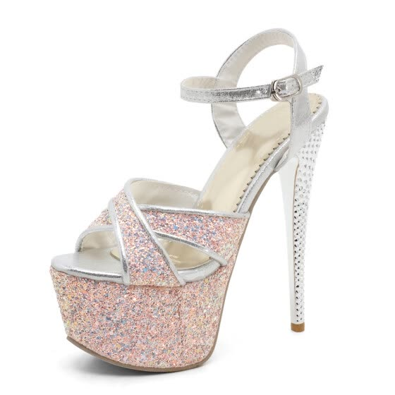 WETKISS 2017 Brand Women Sandals Extreme High Heels Shoes Woman Stiletto Ankle Strap Sexy Peep toe Sandals Summer Fashion Shoes