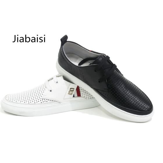 Jiabaisi Mens shoes casual summer shoes men laser metal loafer lace softstar Hollow out oxford comfort Genuine Cow leather shoe