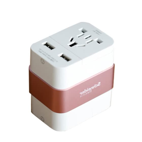 Schneider Electric Multinational Universal Travel Converter Smart USB Charging Travel Sockets - White Rose
