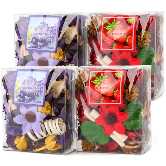 Green source plant dry flower aromatherapy package wardrobe deodorant sachet indoor deodorant fragrance 80g*4 bag romantic lavender *2+ sweet strawberry *2