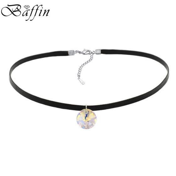 BAFFIN Simple Round Crystals From SWAROVSKI Elements Choker Necklace Rope Chain Bib Necklaces For Women Vintage Jewelry Gift