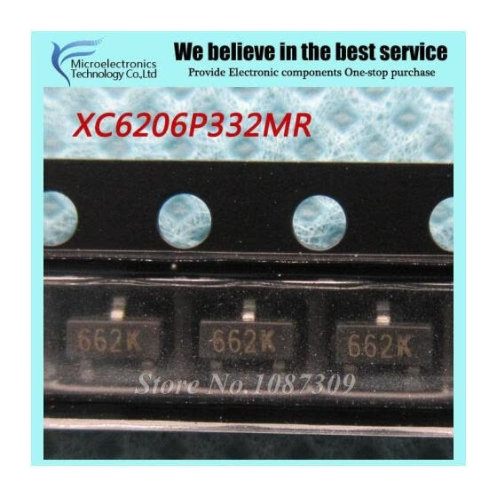 50pcs free shipping XC6206P332MR 662K XC6206 3.3V/0.5A Positive Fixed LDO Voltage Regulator SOT-23 new original