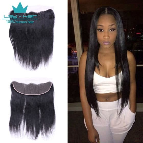 Peruvian Virgin Human Hair 3 Bundles With (13 x 4) Lace Frontal Straight Wave Weft 100% Real Human Hair Extensions Natural Color