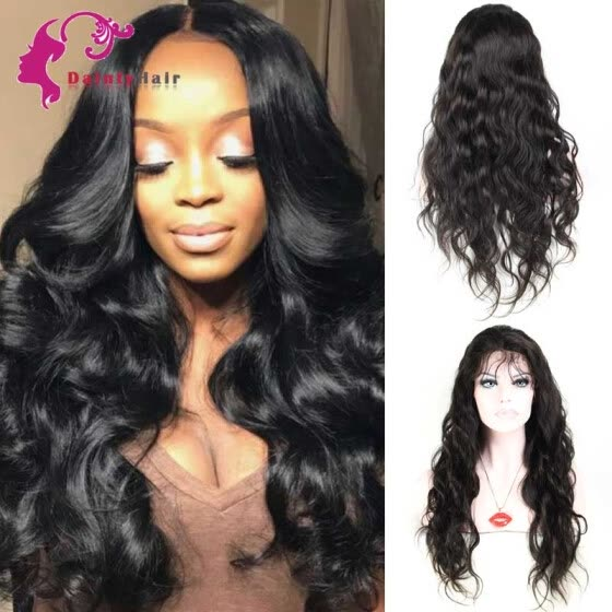 8A Full Lace Human Hair Wigs 130% Density Peruvian  Virgin Wigs with Baby Hair For African Americans Natural Color
