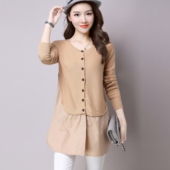 A morning 2017 Korean version of the temperament long-sleeved sweater women's autumn sweater Slim was thin short jacket sweater jacket S63F0006A18JM camel all
