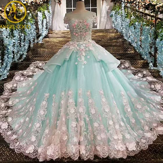 26b08165c Lace Flower Bride Wedding Gown Pregnant Trailing Princess Vintage Luxury  Wedding Dress Cloud Weeding Dress Robe