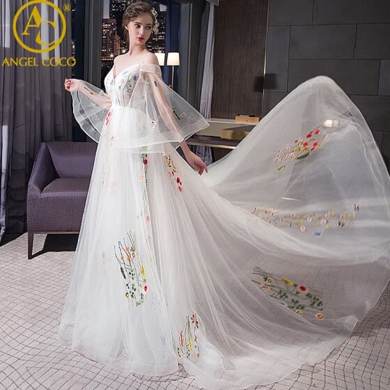 Evening Dresses Embroidery Long Tail Flutter Sleeve Long Women Prom Gown 2017 New Chiffon Summer Style