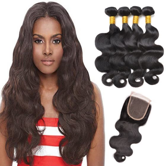 282f1c13a Brazilian Body Wave Human Hair Weaves Extensions 4 Bundles with Closure  Free Middle 3 Part Double