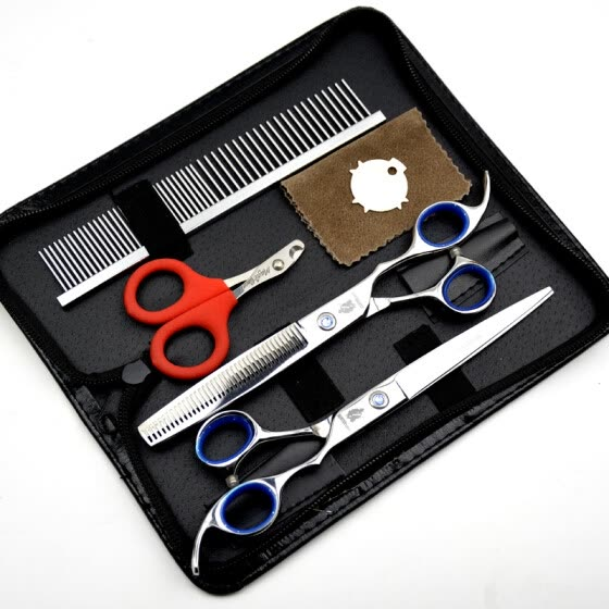 HT9138 HUNTERrapoo 7 inch professional hairdressing scissors set,Razor scissor & thinning shears with a bag,Barber Scissors Kit