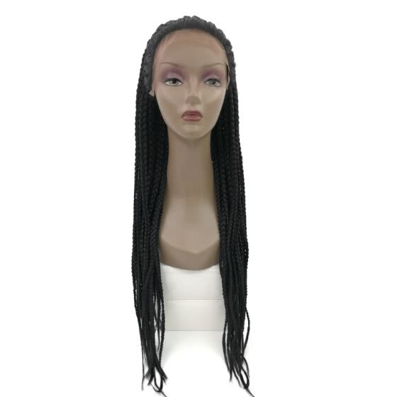 Shop Lace Front Human Hair Braiding Wigs Straight Black Heat