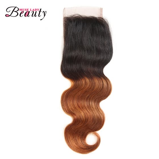 "Museladybeauty Ombre Brazilian Virgin Hair Body Wave Lace Closure 4x4 Two Tone Human Hair Closure 1b 30 Free Shipping 8""-20"""