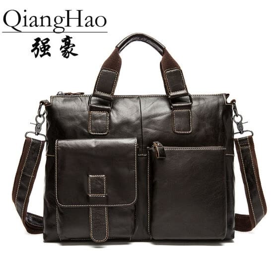 QiangHao Genuine Leather Men Bag Men's Briefcases 15.6 inch Leather Laptop Bag business Male men travel Tote crossbody Bags