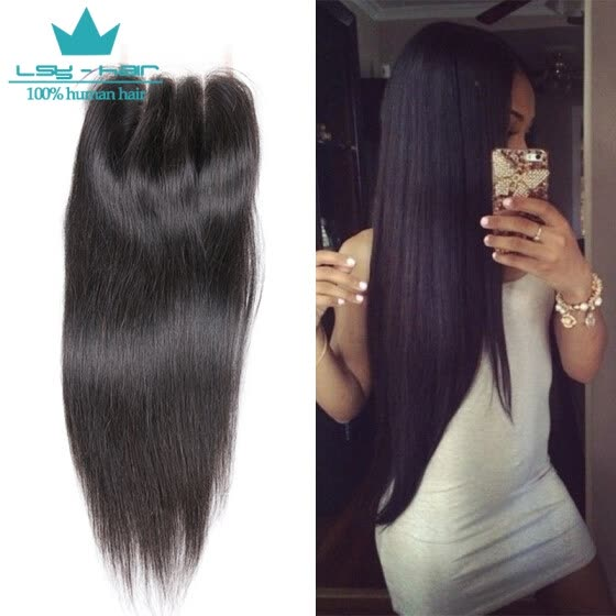 Human Hair Lace Closure Brazilian Straight Hair Closure 4X4 Free Part with Baby Hair 8-20 inch Remy Hair