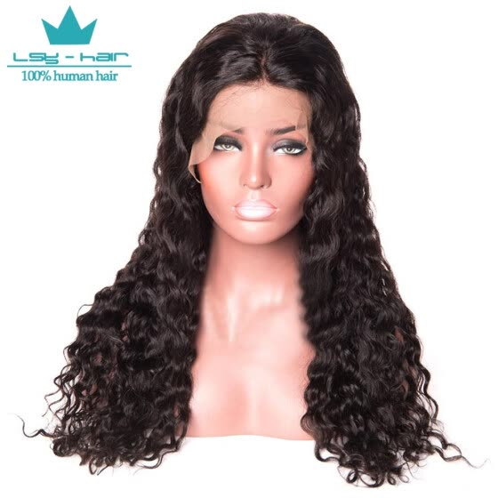 Water Wave Full Lace Human Hair Wigs Brazilian Remy Human Hair For Black Women Natural Hairline 8-26inch