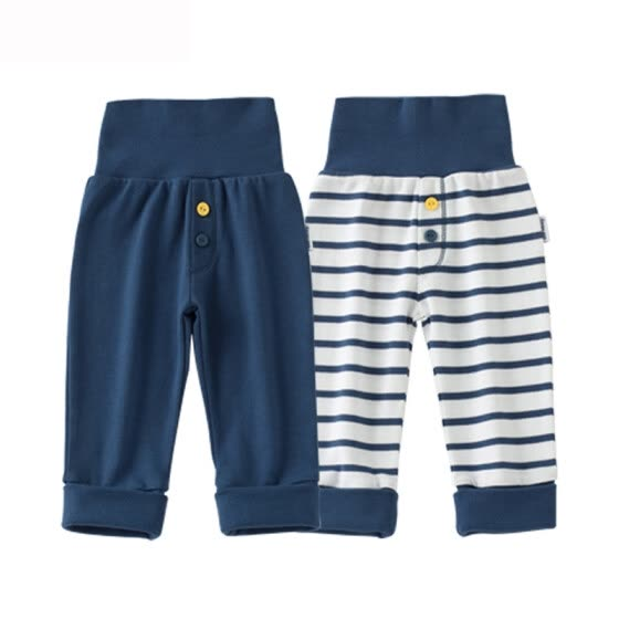 Beibei Yi Bornbay pants fall new men and women baby navy wind high waist belly pants 2 pieces installed 133K001 blue and white 100