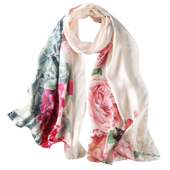 2017 Summer New Fashion Silk Scarf Beach Office Paty Silk Scarves Pure Silk Collarette Women Gifts  Vintage Ink Painting Style