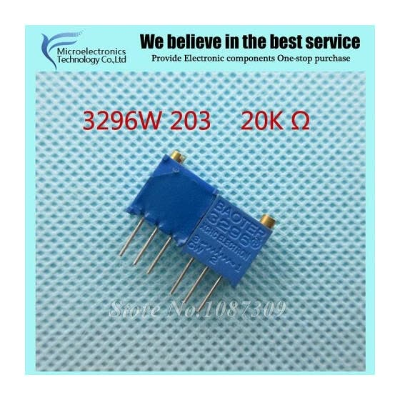 100Pcs/lot 3296W-1-203LF 3296W 203 20k ohm Top regulation Multiturn Trimmer Potentiometer High Precision Variable Resistor