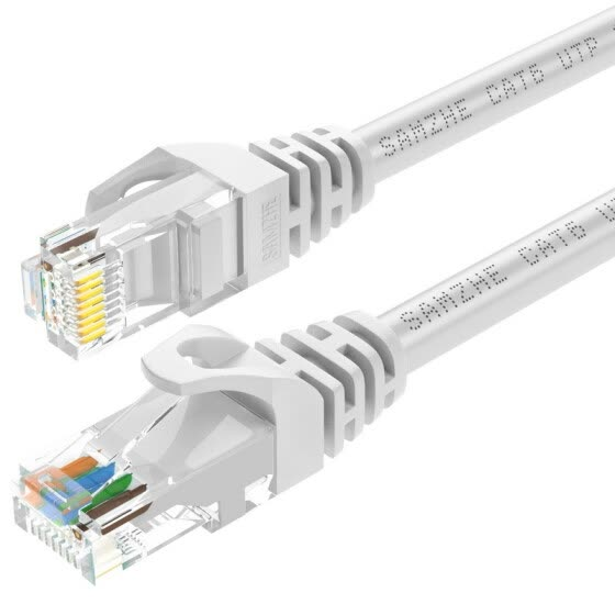 Shanze (SAMZHE) six types of cable CAT6 Gigabit high-speed network line indoor and outdoor 8-core network cable 6 categories of computer TV router cable GRE-6030 white 3 meters