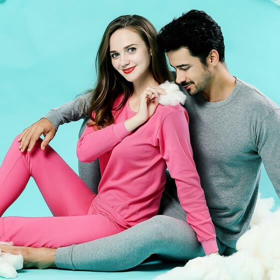 Langsha Mens Thin Couple Large Size Cotton Sweater Thermal Underwear Set Solid Color