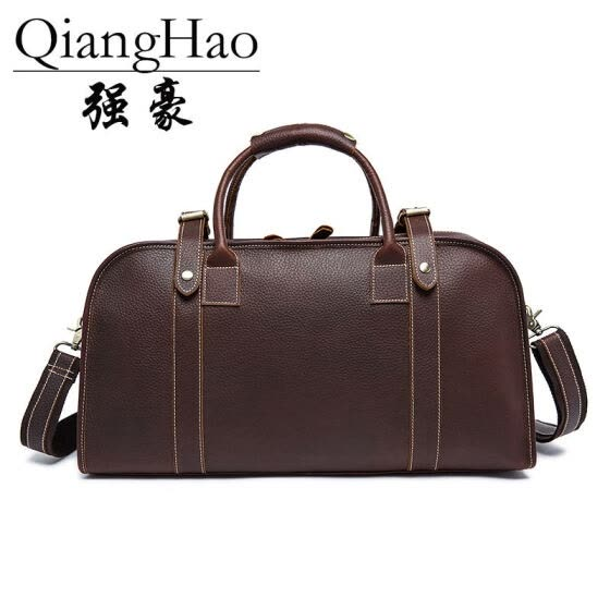 Men's Vintage Crazy horse leather travel duffle 18 inch Brown genuine leather travel bag Durable cow leather Boston Weekend bag