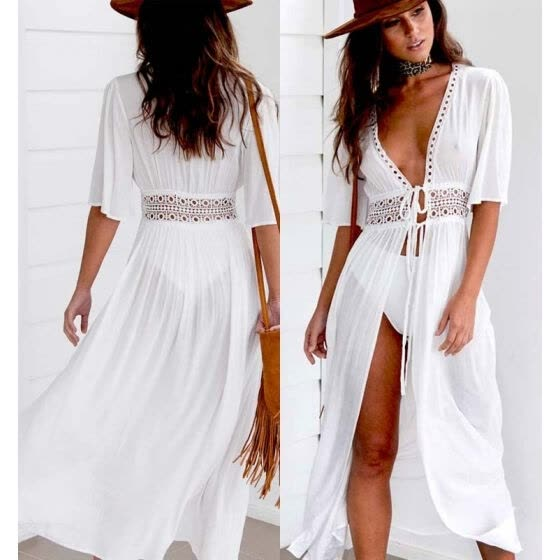 f21a760c033 CANIS Women Beach Bikini Cover up Long Kaftan dress Summer Boho Maxi Dress  Swimwear