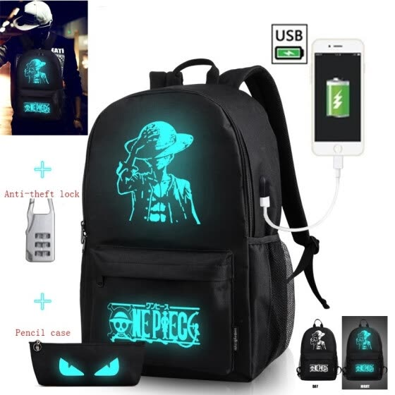 ad76c75add Fashion Noctilucent Men s Backpack Anime Luminous Backpack Teenagers Men  Women s Student Cartoon School Bags Casual Backpack