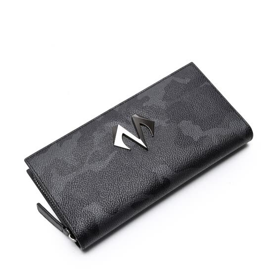 BABAMA men's long wallet fashion camouflage hand bag tide brand clutch bag personality fashion couple wallet wallet casual large capacity multi-card male hand bag black