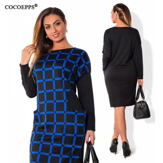 fashionable office women dresses big sizes 2017 plus size women clothing  5xl 6XL winter dress casual 0214bd495380