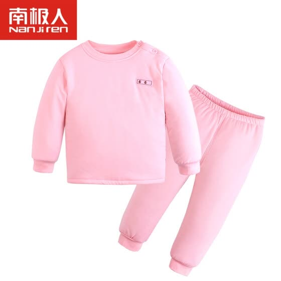 Antarctic baby warm underwear suit autumn and winter thickening cotton wool underwear children's warm clothing yellow 100 yards