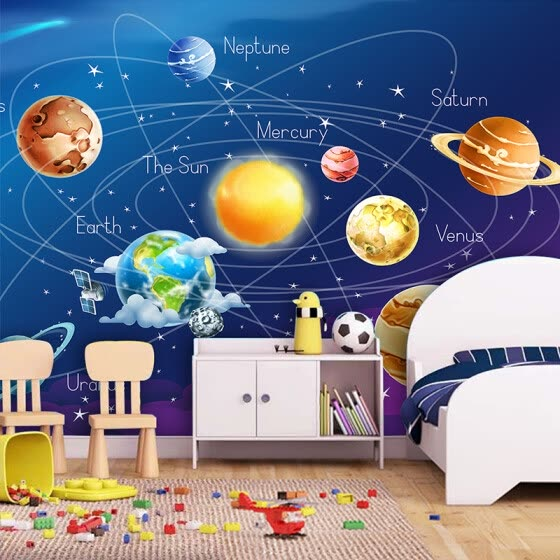 Shop Custom Mural Wallpaper 3d Cartoon Planet Solar System Photo