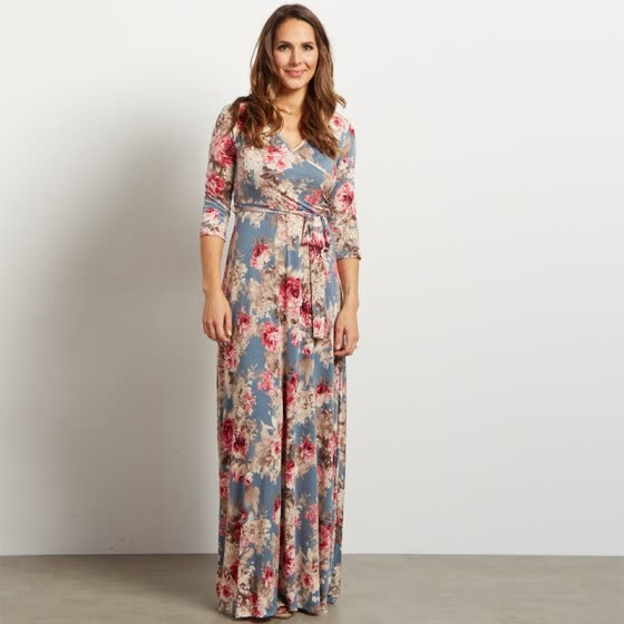 Shop ICHOIX Summer Beach Floral Print Long Floor-Length ...