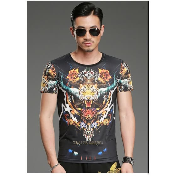 SHUYI Summer Retro Fashion T - shirt Male Personality Tiger Head Printing Short - Sleeved Compassionate Cotton T - shirt