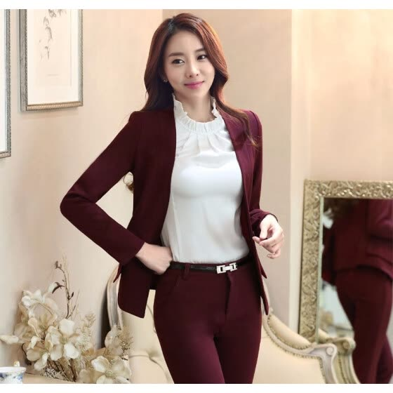 Novelty Wine Formal Professional Work Suits With Jackets And Pants 2016 Autumn Winter Pantsuits For Ladies Office Pants Suits