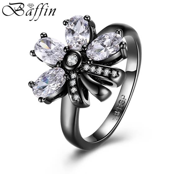2017 New Retro Vintage Black Gun Plated Flower Rings Statement Jewelry Made With Cubic Zirconia Diamond Ring For Women