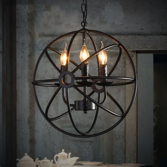 BOKT Perfectshow 3-lights Vintage Edison Metal Shade Round Hanging Ceiling Chandelier Retro Iron Rustic Spherical Pendant Light Ki