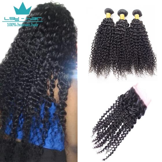 Indian Afro Kinky Curly Virgin Hair 3 Bundles With Closure Human Hair Extensions